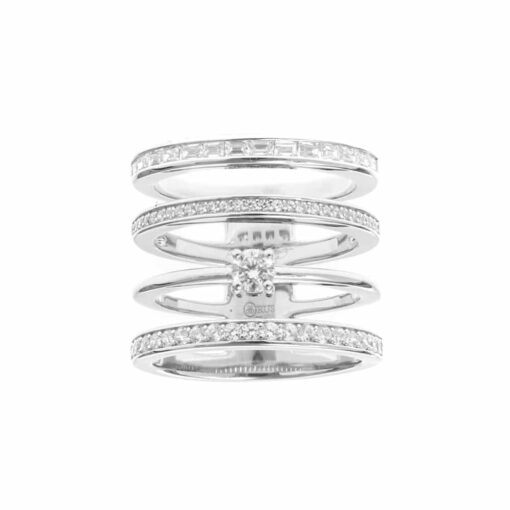 Four-row silver ring set with 3