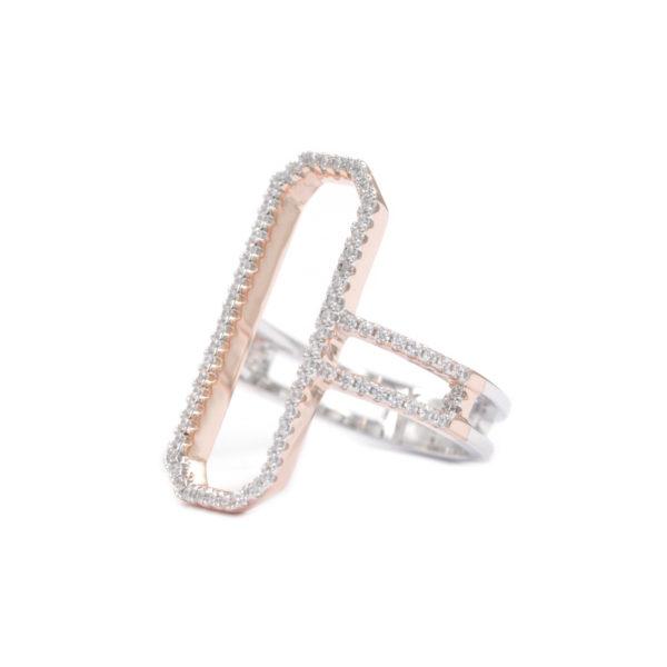 长方形粉红银戒指镶嵌3