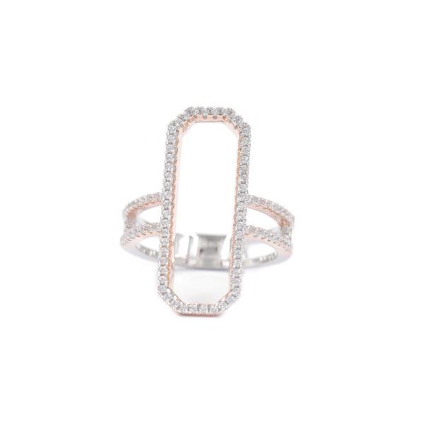 长方形粉红银戒指镶嵌1