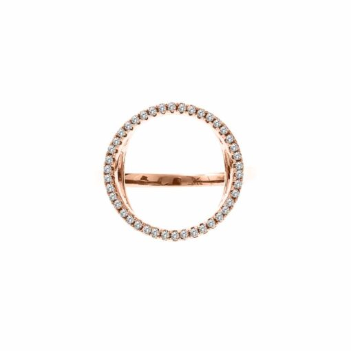 Round pink silver ring 3