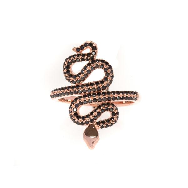 戒指银粉红色蛇镶有黑色1