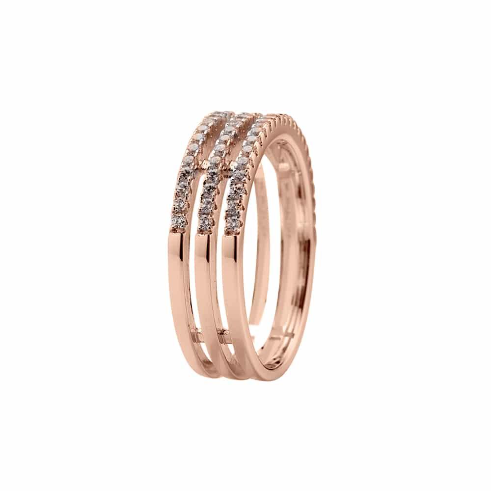 Bague argent rose triple anneaux serti 4