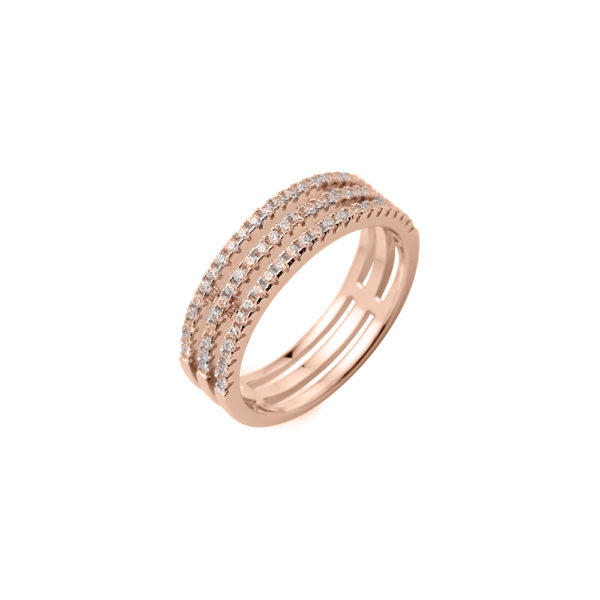 Ring silver pink triple rings set 3