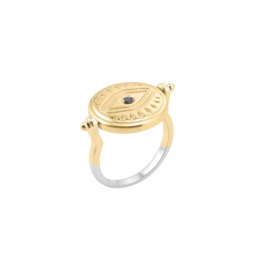Silber Gold und schwarz Perlmutt Sarah Silber Ring 5
