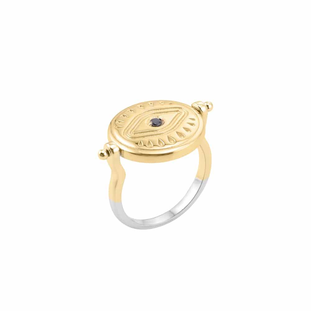 Bague argent sarah argent doré pierre onyx 6