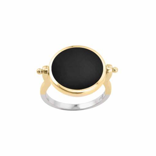 Silber Gold und schwarz Perlmutt Sarah Silber Ring 4