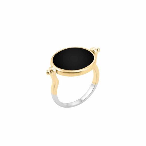Silber Gold und schwarz Perlmutt Sarah Silber Ring 6