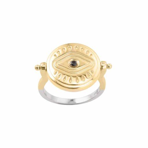 Silber Gold und schwarz Perlmutt Sarah Silber Ring 3