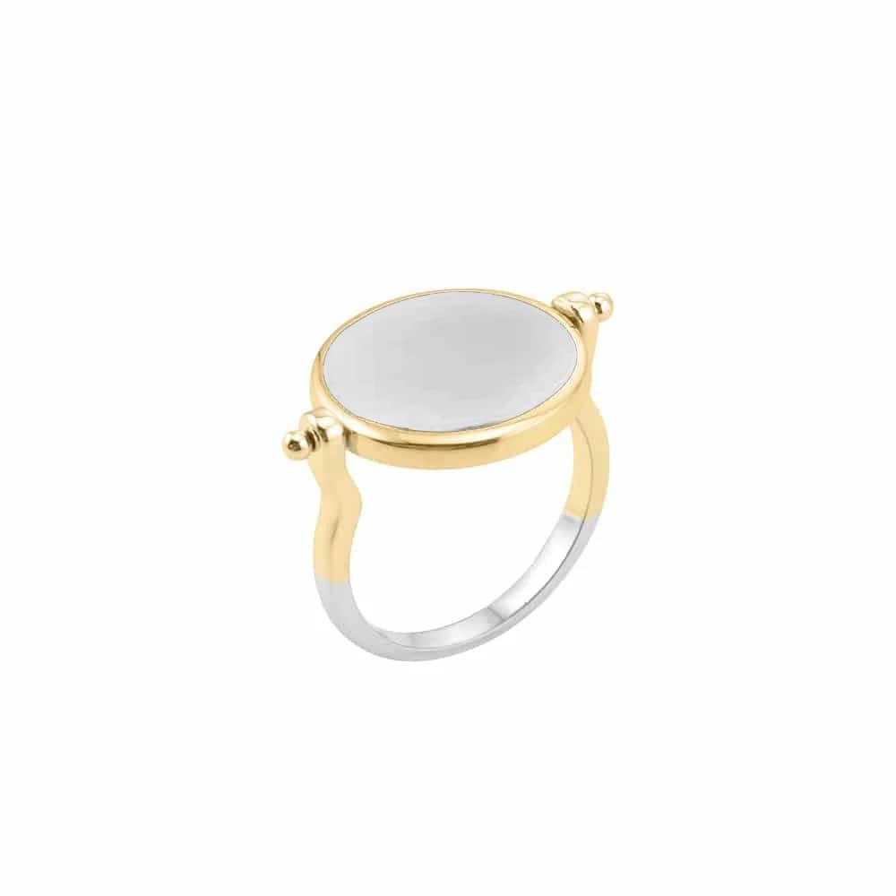 Bague argent sarah argent doré pierre nacre blanche 4