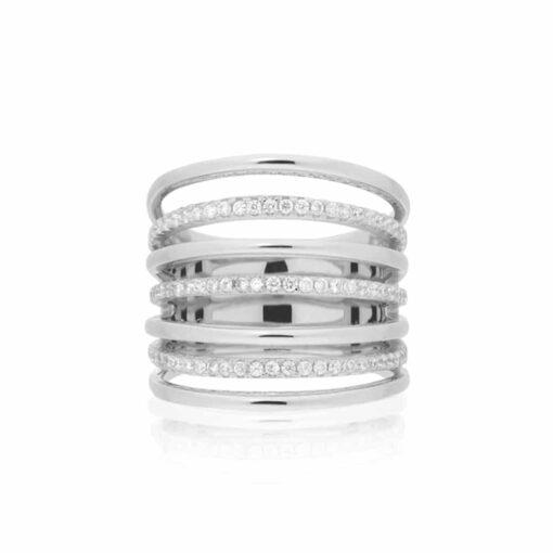 Zilveren ring met zeven ringen set 3