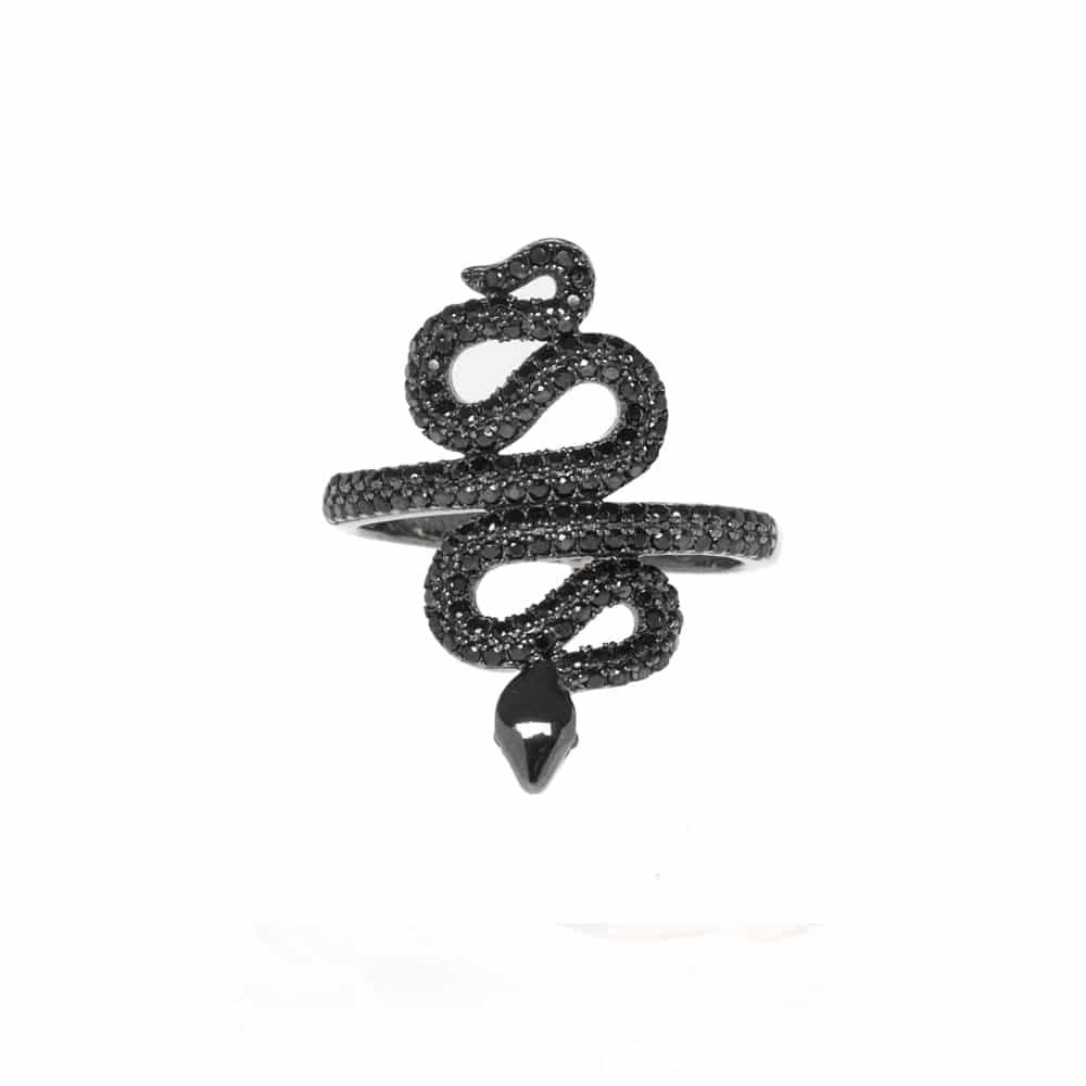 Bague argent noir serpent sertie pierres noir 2