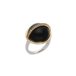 Bague argent dorée sphere noire 6