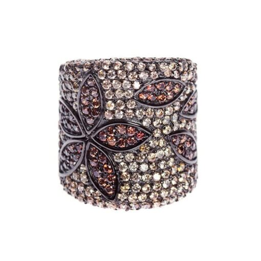 Silver ring with sparkling pink and cognac tube 3