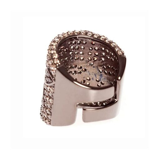 Silver ring with sparkling pink and cognac tube 4