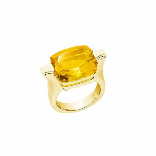 Bague athena argent doré pierre  citrine 3