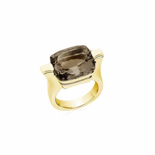 Bague athena argent pierre quartz fumé 3
