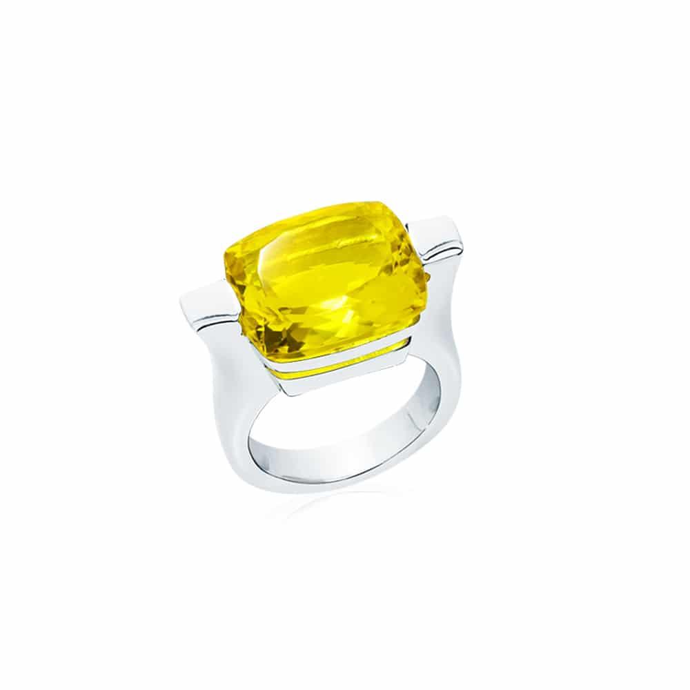 Bague athena argent quartz jaune 3