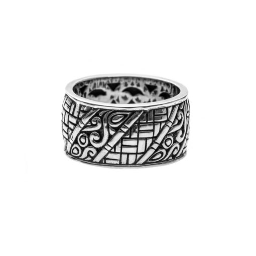 Men's silver bamboo ring 3