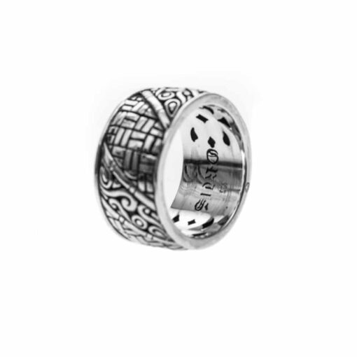 Men's silver bamboo ring 4