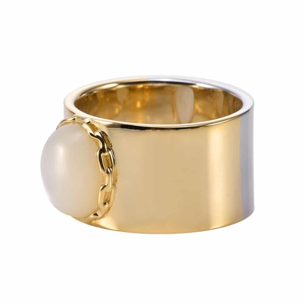 Bague chaine argent doré céline pierre nacre 4
