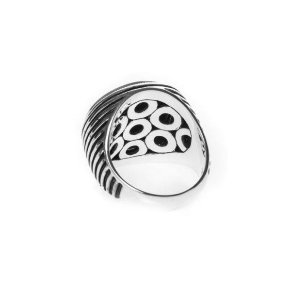 玛瑙男士图章戒指银2