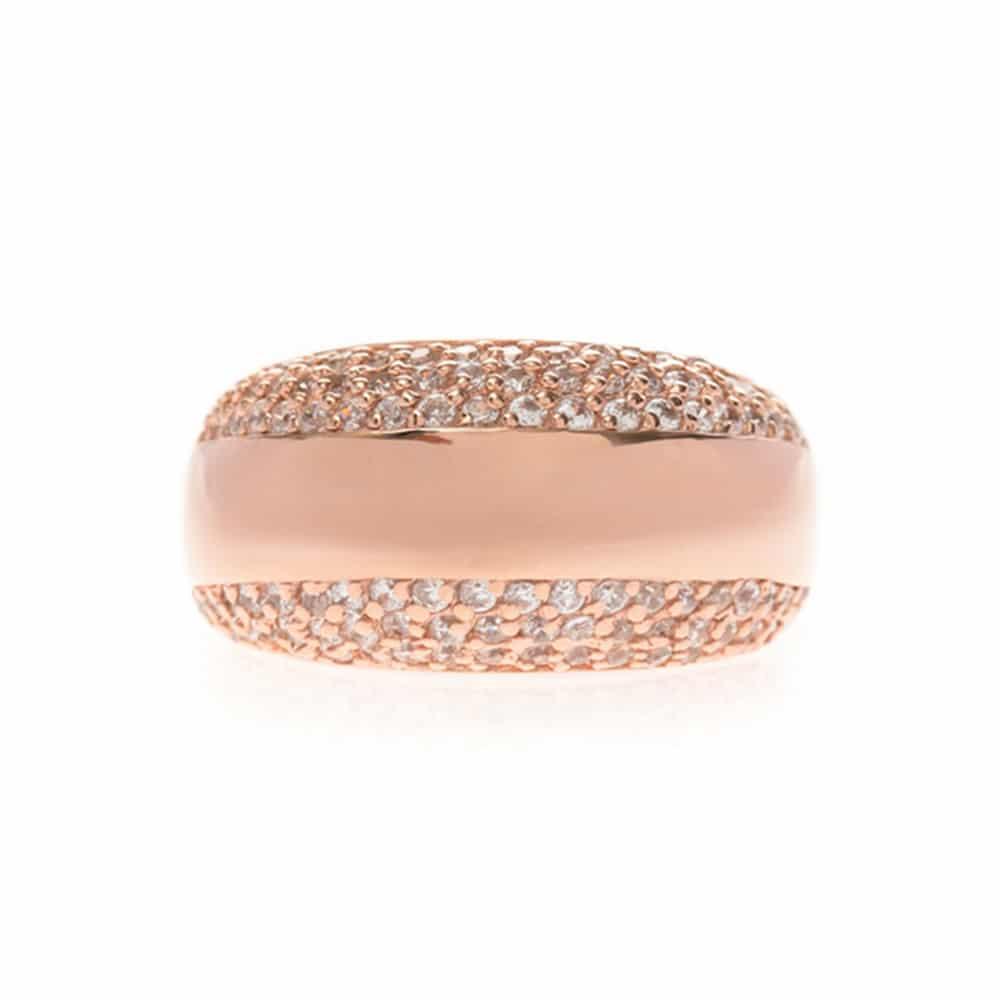 Bague anneau simple serti deux faces rose 2