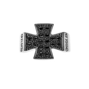 Bague homme croix pavée noire argent 6
