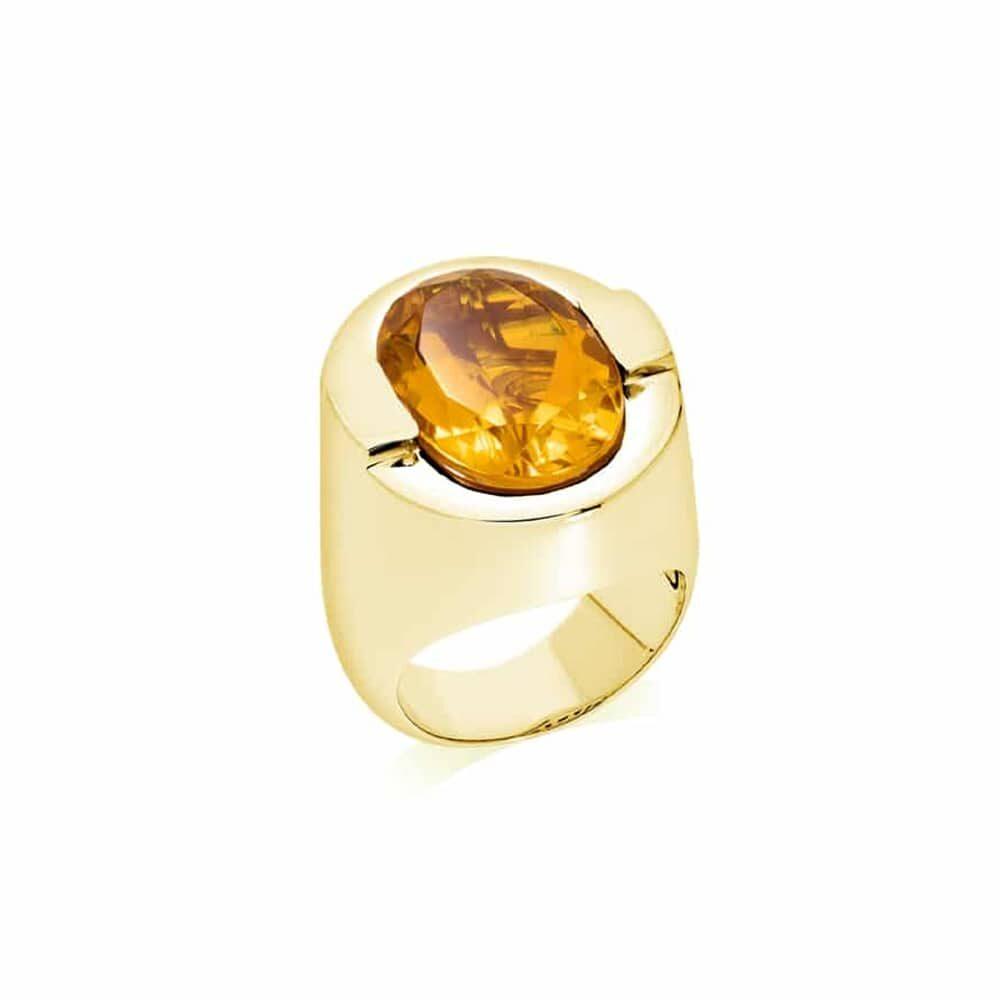 Bague argent doré sertie d'une pierre citrine