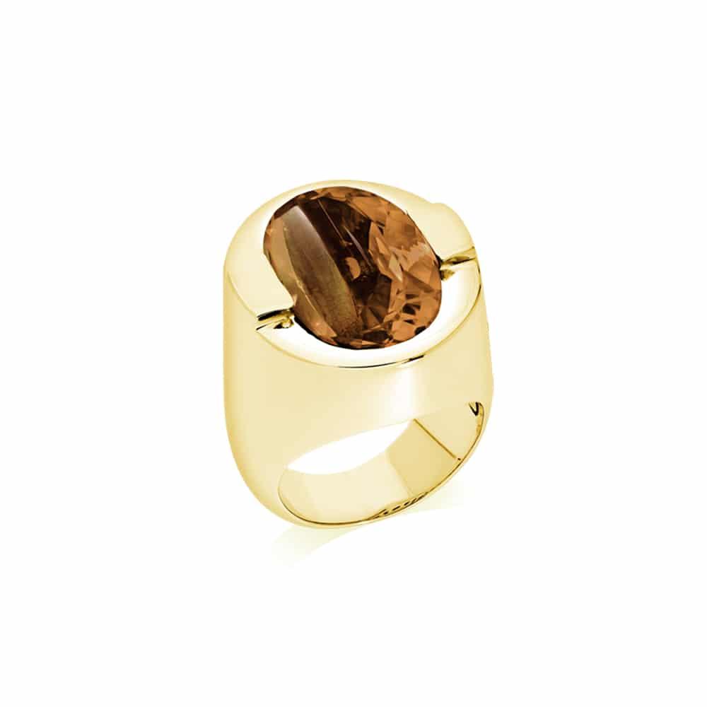 Bague Diane argent doré pierre quartz fumé 2