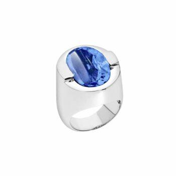 Bague argent sertie d'une pierre quartz bleu
