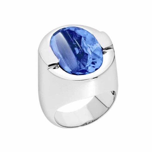 Bague Diane argent  pierre quartz bleu 3