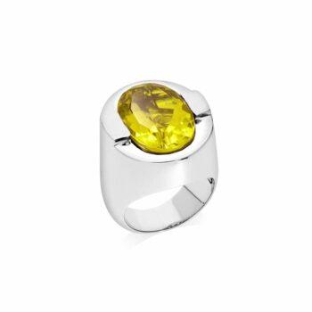 Bague argent sertie d'une pierre quartz jaune