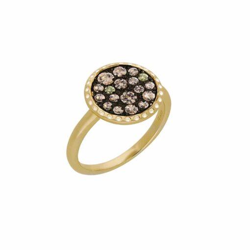 金色圆盘镶香槟石戒指3