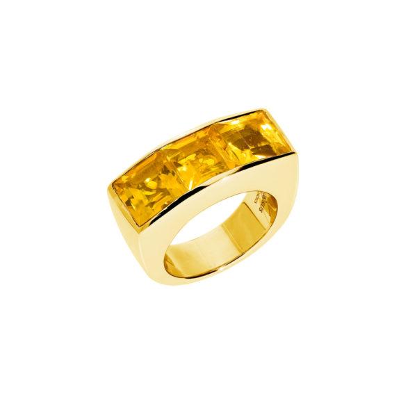 Bague seth doré quartz carré citrine 1
