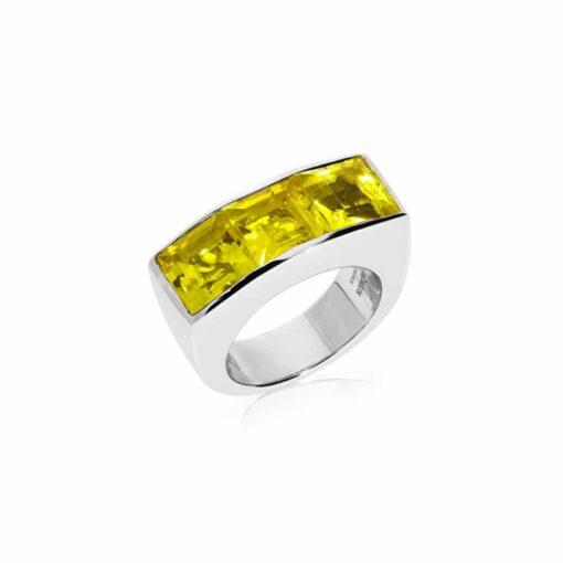 Bague Seth argent doré quartz carré jaune 3