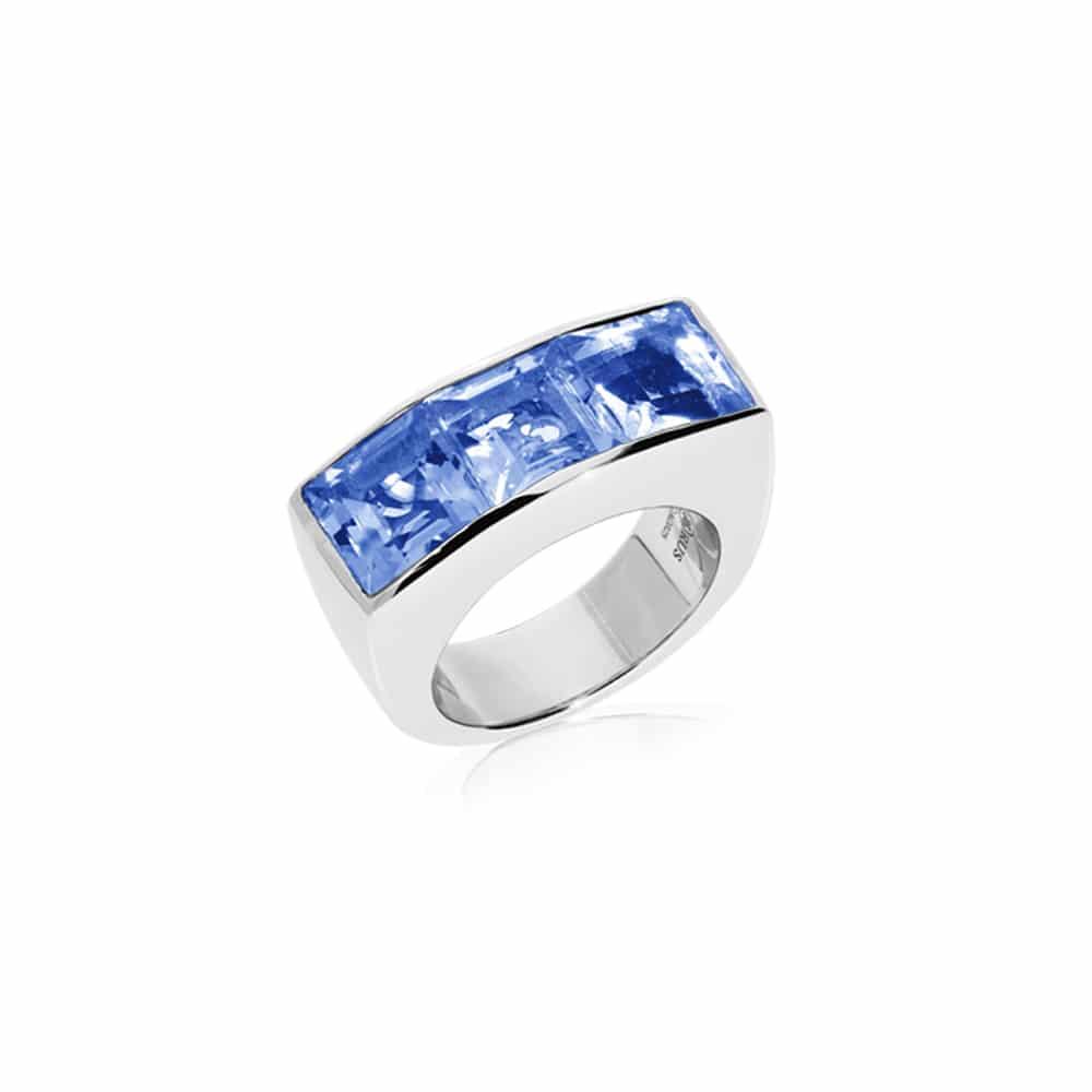 Bague Seth argent carré quartz bleu 3