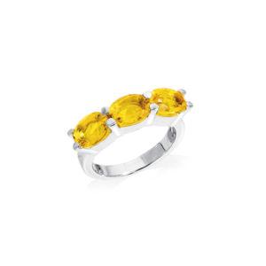 Bague éos rhodié quartz citrine 7