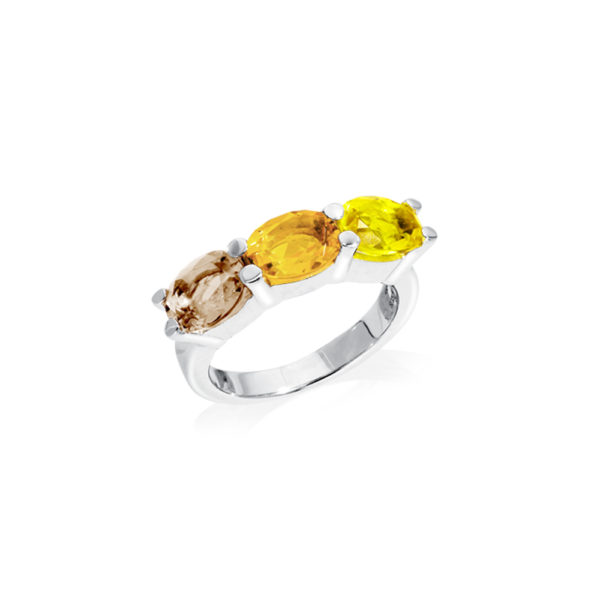 Bague éos rhodié quartz fumé ,citrine et jaune 1