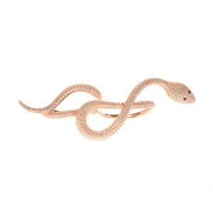 Bague double argent rose serpent serti 2