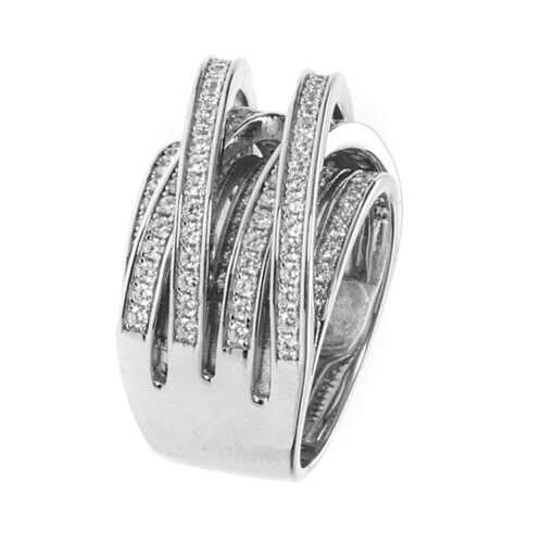 Rhodium silver ring entwined with crimped rings 4