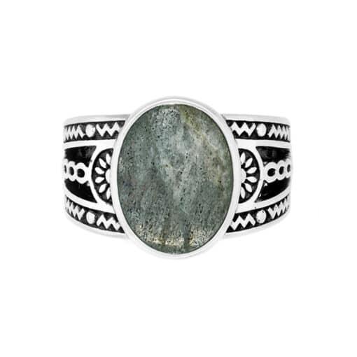 Ring man ethnic labradorite silver 2