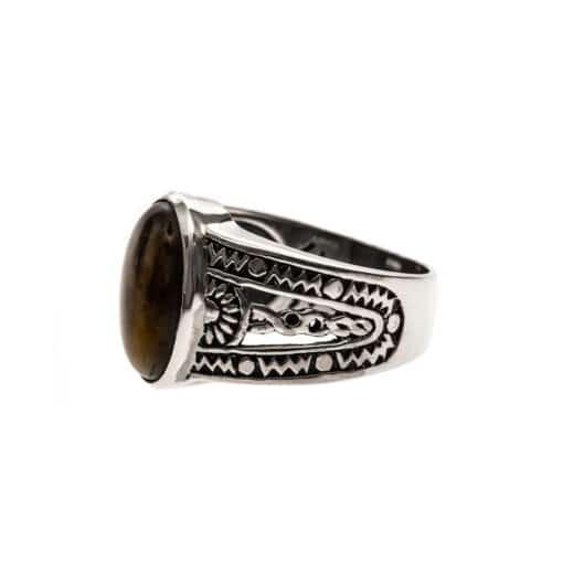 Ring man silver ethnic tiger eye 4
