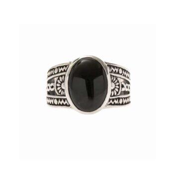 silver onyx ethnic ring