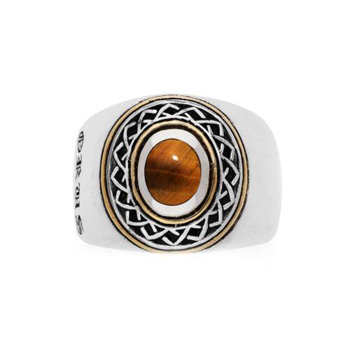 Ring man silver ethnic tribal tiger eye 3