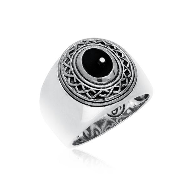 Ring man silver ethnic tribal onyx 3