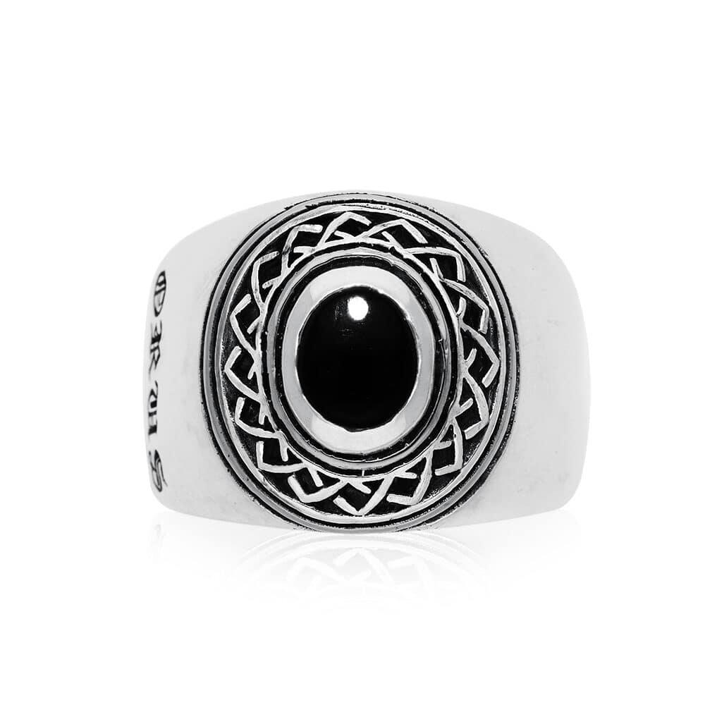 Ring man silver ethnic tribal onyx 2
