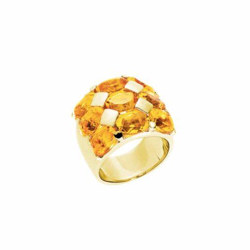 Bague Hera argent doré pierre citrine 3