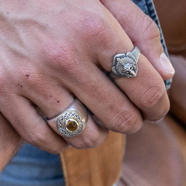 Ring man silver ethnic tribal tiger eye 6