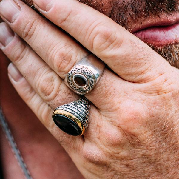 Ring man silver ethnic tribal onyx 4