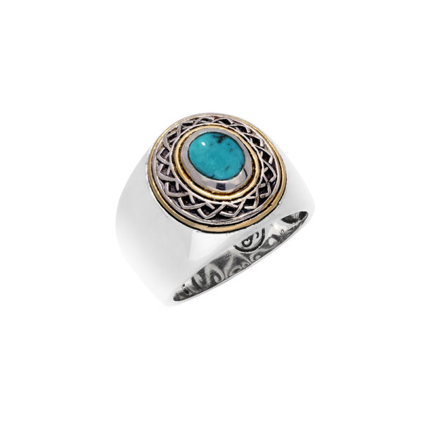 Ring man silver ethnic tribal turquoise 3